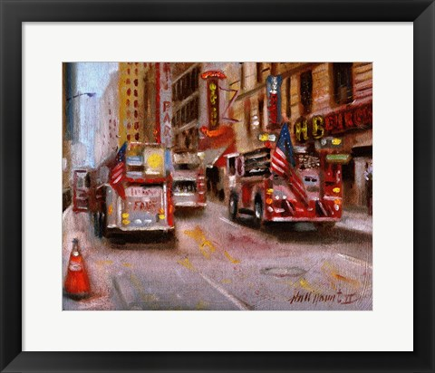 Framed Fire Department New York, 42nd Street NYC Print