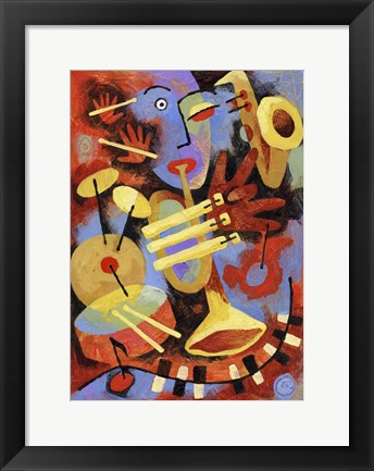 Framed Jazz Player Print