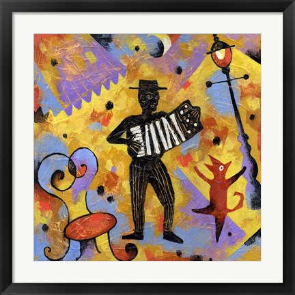 Framed Accordionist Print