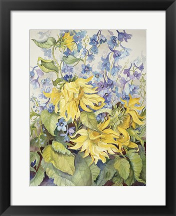Framed Sunflowers & Blue Delphinium Print