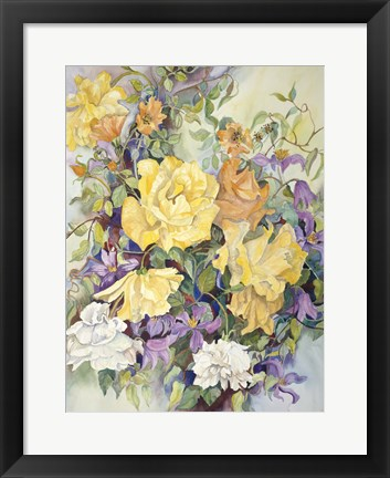 Framed Roses With Purple Clematis Print