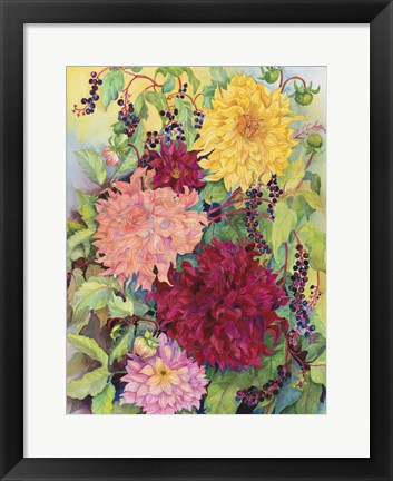 Framed Dahlias And Wild Berries Print