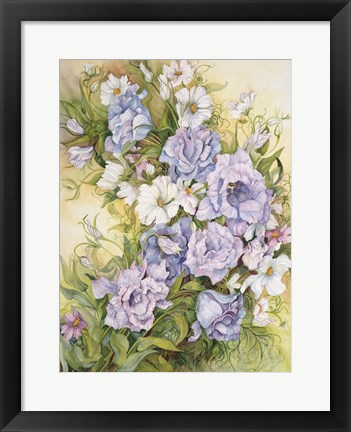 Framed Blue Prairie Gentian And Cosmos Print
