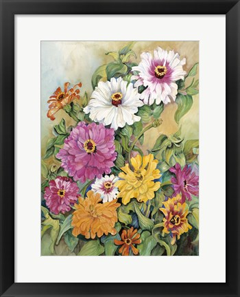 Framed Variegated Zinnias Print