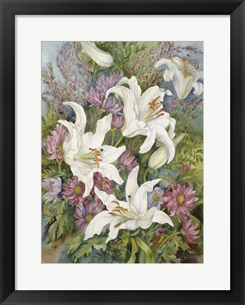 Framed Lilies And Asters Print