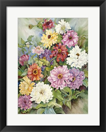 Framed Zinnias From A Fall Garden Print