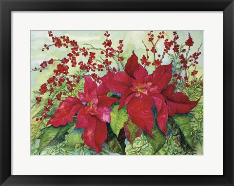 Framed Red Poinsettia Print