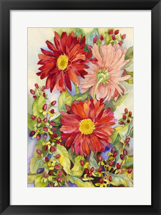 Framed Red Gerbera Daisies And Berries Print