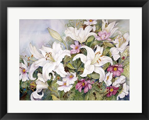 Framed White Lilies And Mixed Colored Cosmos Print