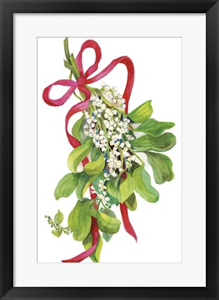 Framed Mistletoe With Red Ribbon Print
