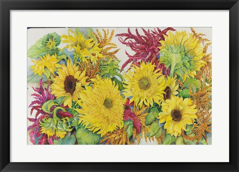 Framed Sunflowers And Amaranth Print