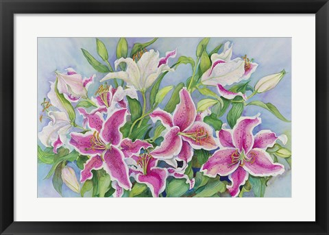 Framed Lilies And Buds Print