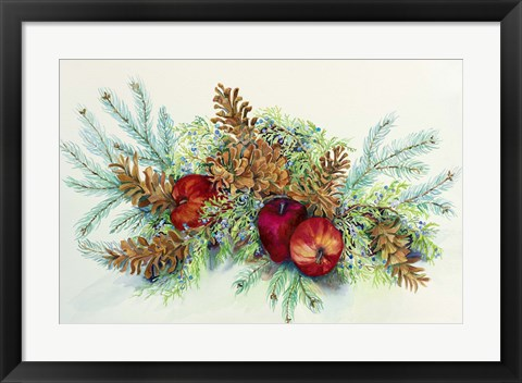 Framed Winter Greens With Apples Print