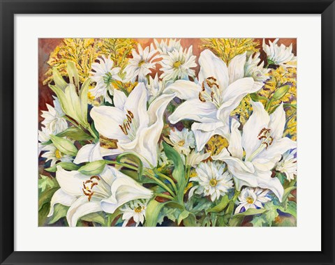 Framed Lilies and Daisys Print