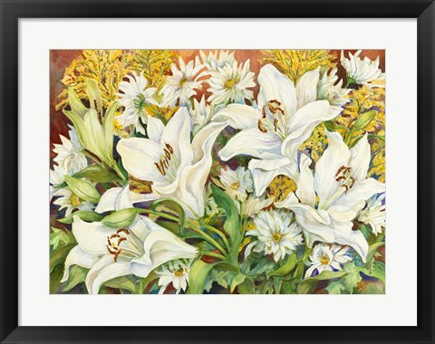 Framed Lilies and Daisies Print