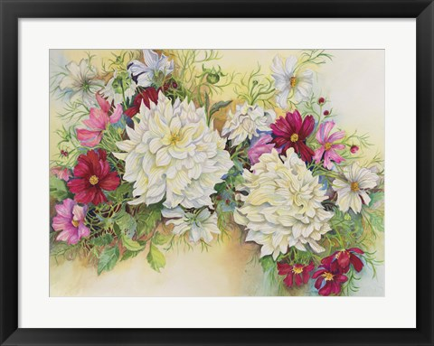 Framed White Dahlias And Cosmos Print