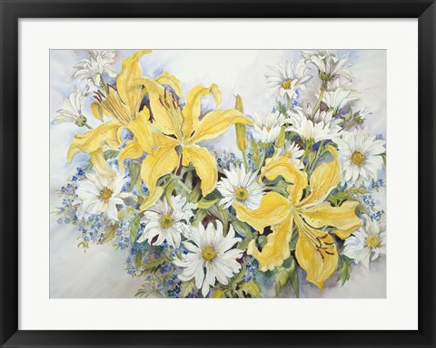 Framed Yellow Lilies-Forget Me Nots-Daisy's Print