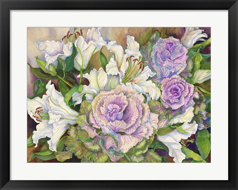 Framed Lilies With Ornamental Cabbage Print