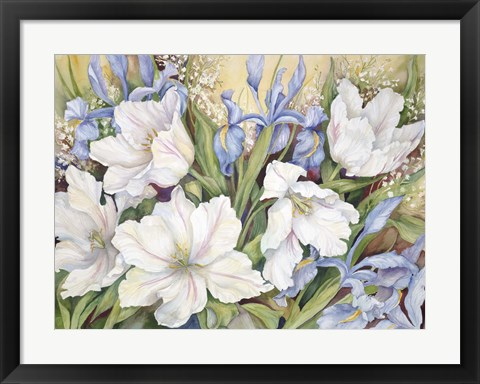 Framed White Tulips/ Blue Iris Print
