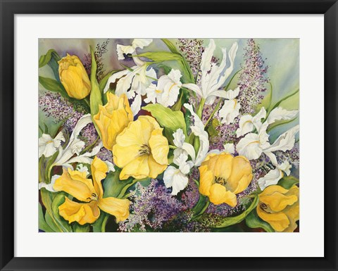 Framed Yellow Tulips, White Iris And Heather Print