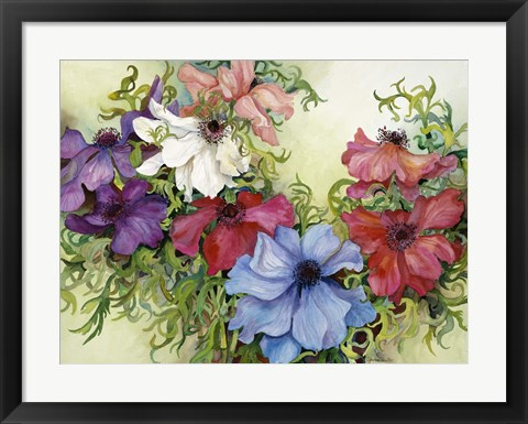Framed Rainbow Of Anemones Print