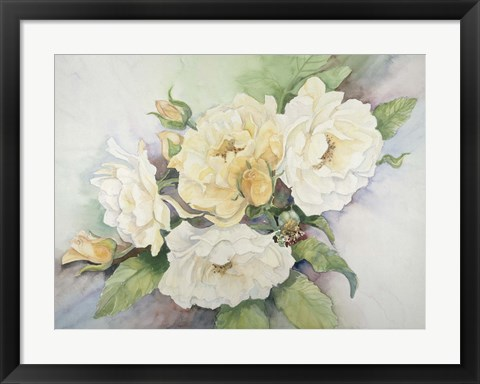 Framed Cluster Of Yellow Roses Print