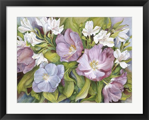 Framed Purple Tulips/ White Alstroneria Print