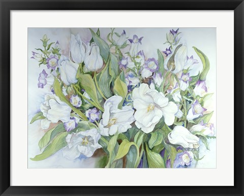 Framed White Tulips And Canterbury Bells Print