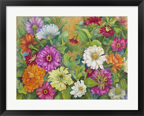 Framed Zinnias Palette Of Color Print