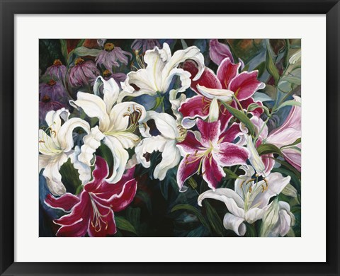 Framed Field Of White And Pink Lilies Print