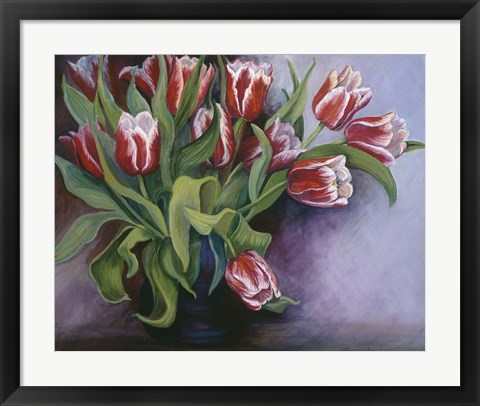 Framed White Tipped Red Tulips Print