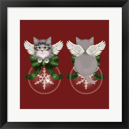 Framed Happy Holidays Cat Back Print