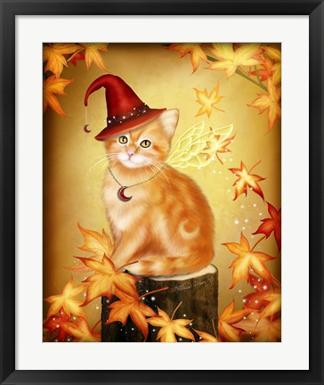 Framed Autumn Cat Magic Print