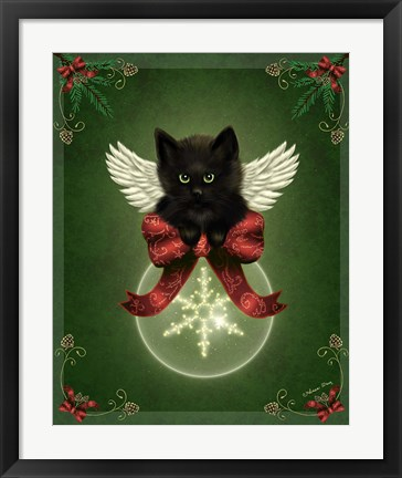 Framed Merry Little Christmas Cat Print