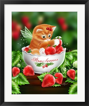 Framed Strawberry Kitten Print