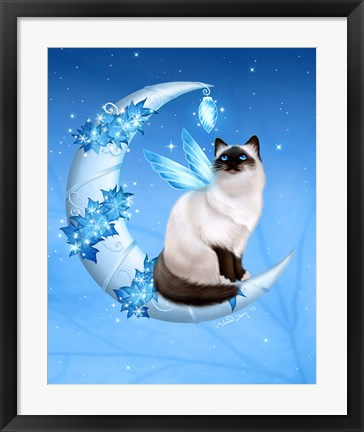 Framed Winter Moon Cat Print