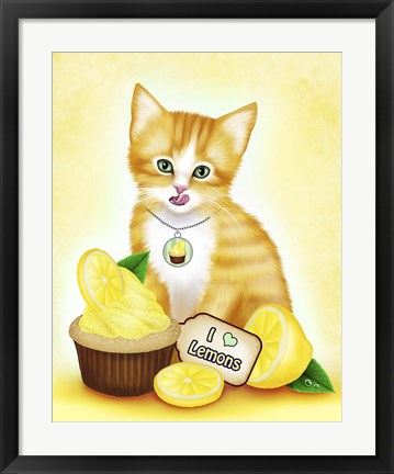 Framed Lemon Cupcake Kitten Print