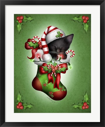 Framed Candy Cane Elf Print
