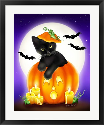 Framed Halloween Kitty Print