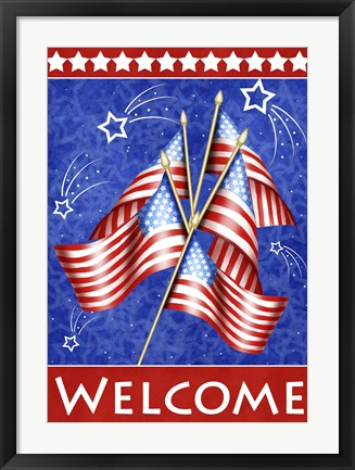 Framed Welcome Stars And Stripes Print