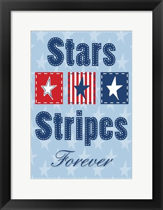 Framed Stars and Strips Verticle Print