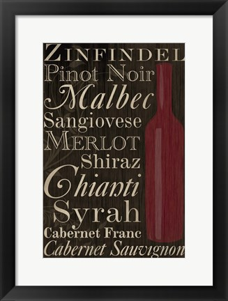 Framed Red Red Wine Bottles Print