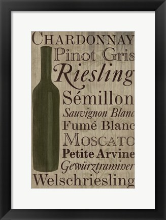 Framed White White Wine Bottle Print