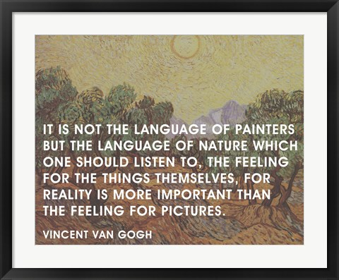 Framed Language of Painters - Van Gogh Quote Print