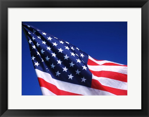 Framed American Flag Waving in the Wind Print