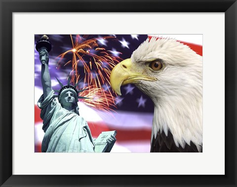 Framed Fireworks by the Statue of Liberty Print