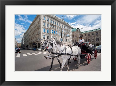 Framed Horse Drawn Carriage in Vienna Print