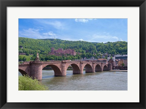 Framed Carl Theodor Bridge, Heidelberg Castle Print