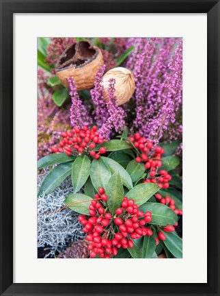 Framed Christmas Floral Decorations Print