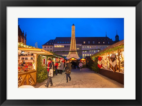Framed Christmas Market at Twilight, Germany Print